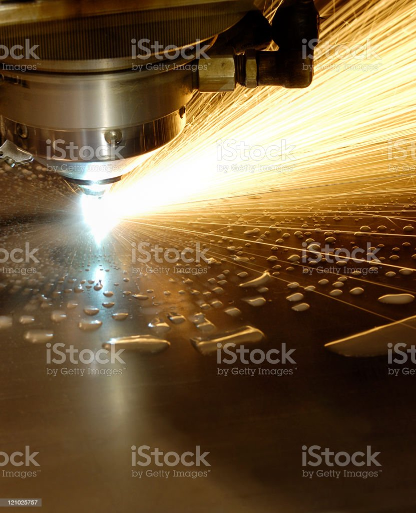 Water cooled laser cutter stock photo