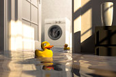 Water damage caused by defective washing machine and rubber ducks