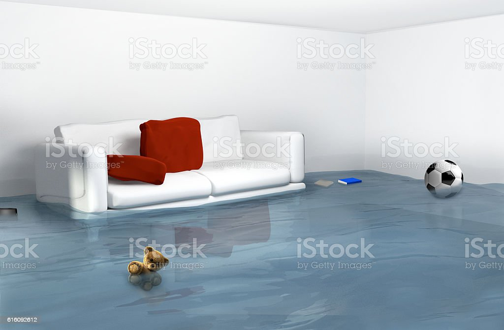 Water damage due to high water in the house stock photo