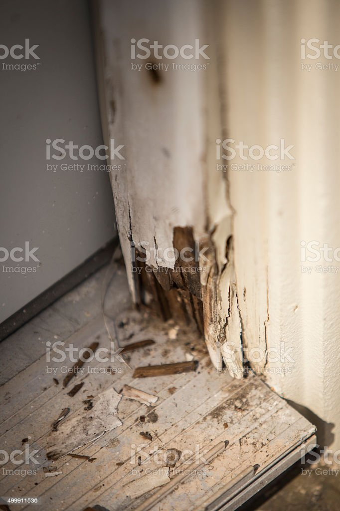 Water Damage on Door Panel stock photo