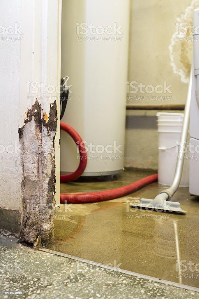Water damaged basement stock photo