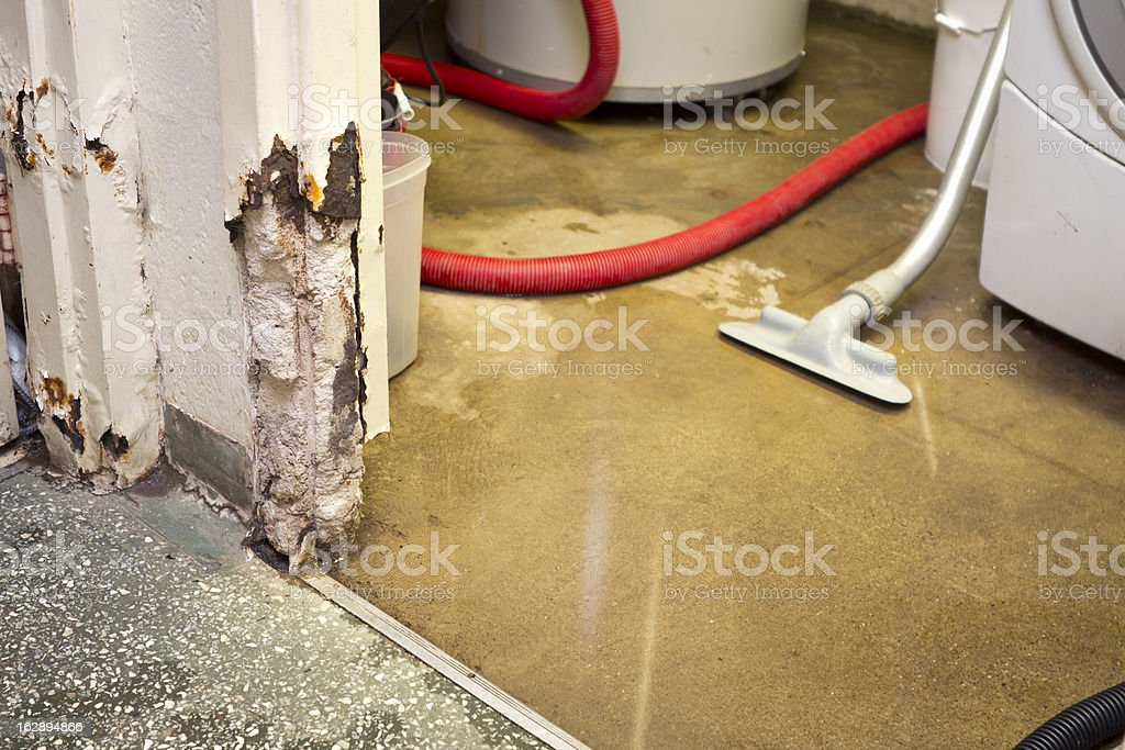 Water damaged basement stock photo