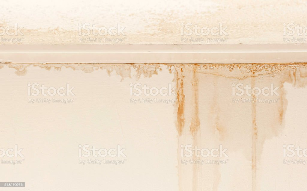 Water damaged ceiling and wall stock photo