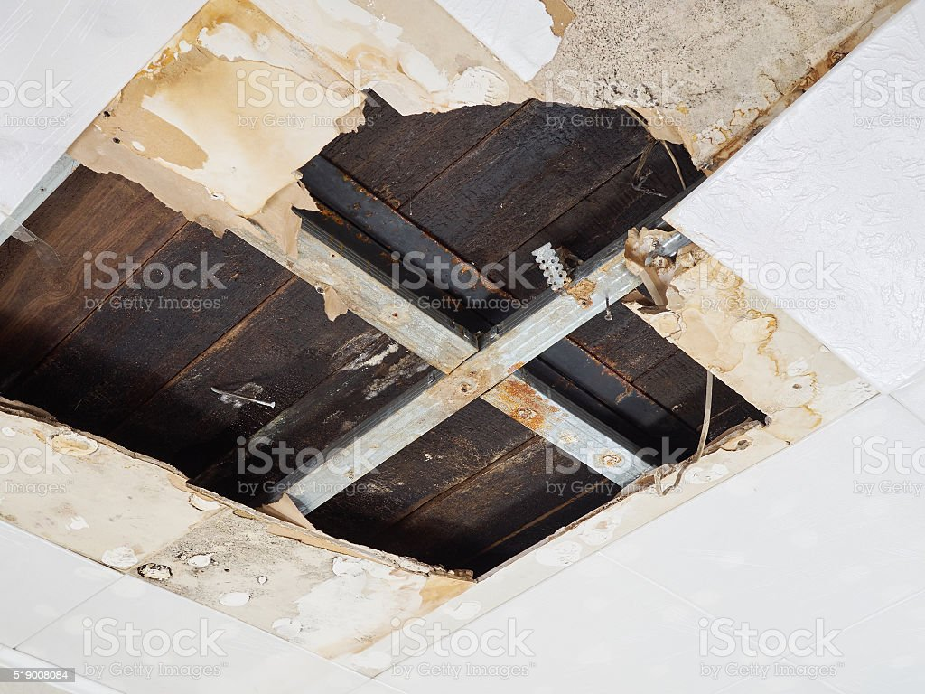 Water damaged ceiling . stock photo