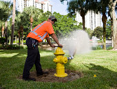 Water Department Field Technician Flushing Hydrant