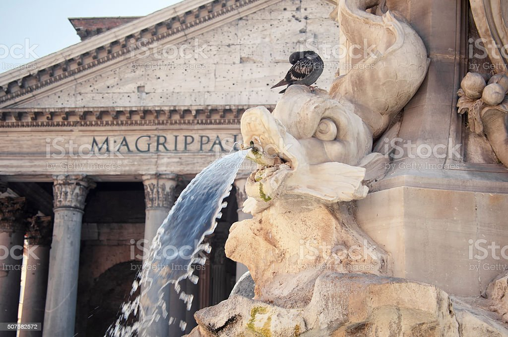 Water Detail from the Pantheon Fountain at Dusk, Rome, Italy stock photo