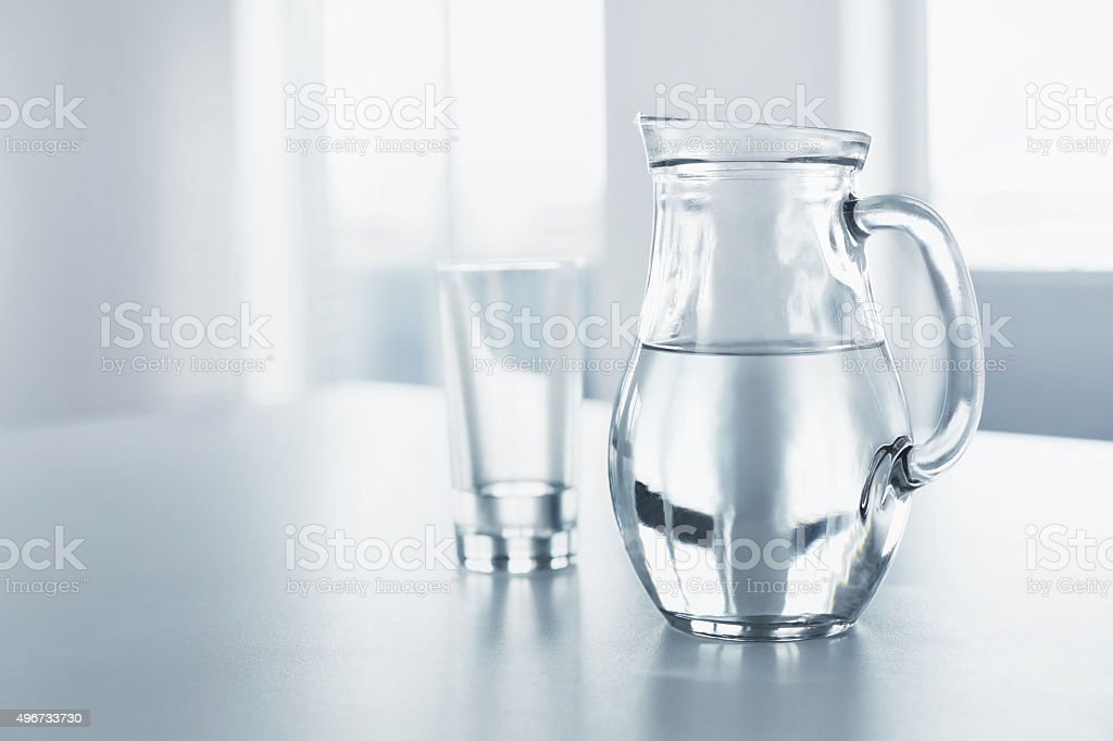 Water. Drinks. Glass And Pitcher With Water. Balance, Hydra stock photo
