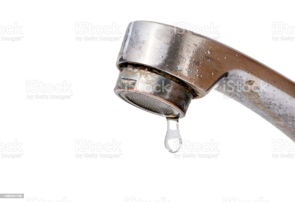 Water Dripping from Old Faucet stock photo
