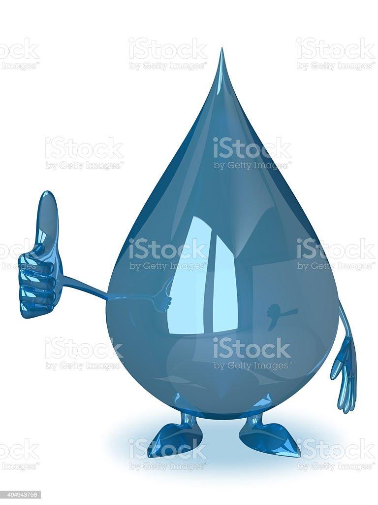 Water drop giving thumb up stock photo
