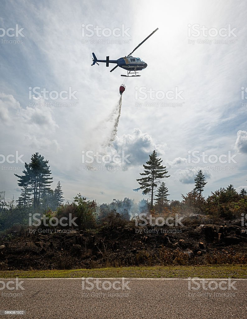 Water Drop on Forest Fire stock photo