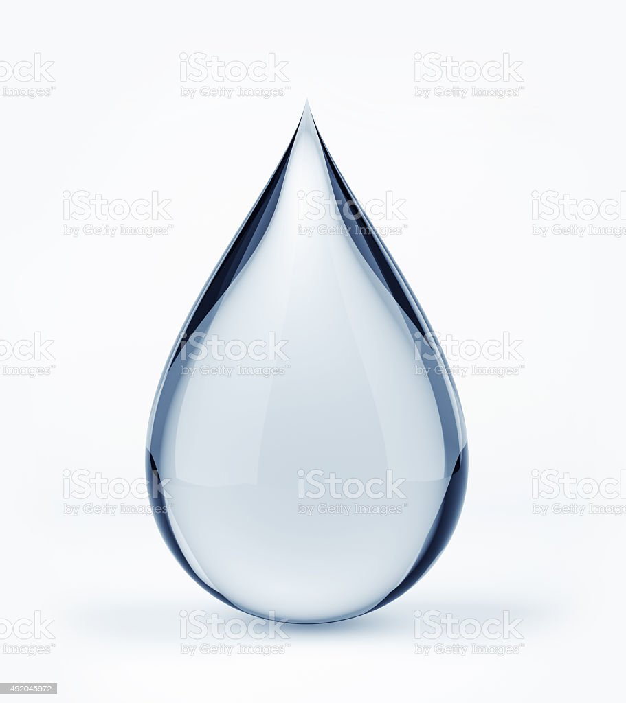 3D water drop on white stock photo