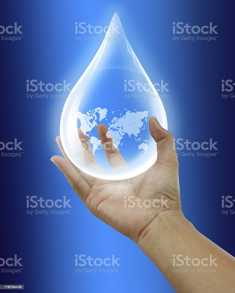 water drop with hands. stock photo