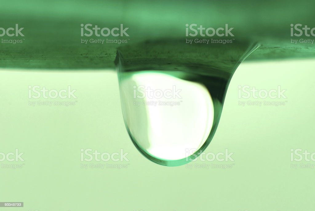 Water droplet that is about to drop royalty-free stock photo