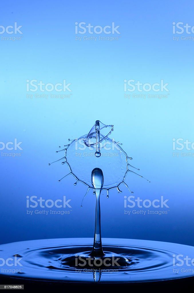 Water Droplet - Three drop collision stock photo