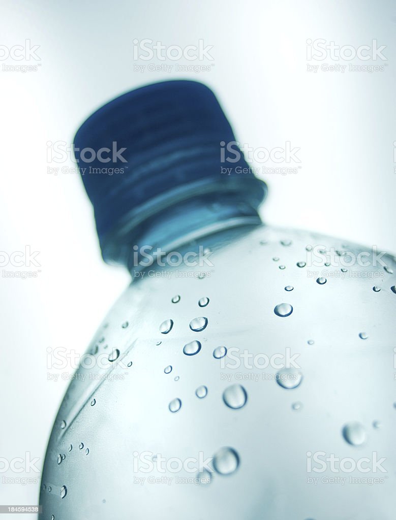 water droplets and bottle background stock photo
