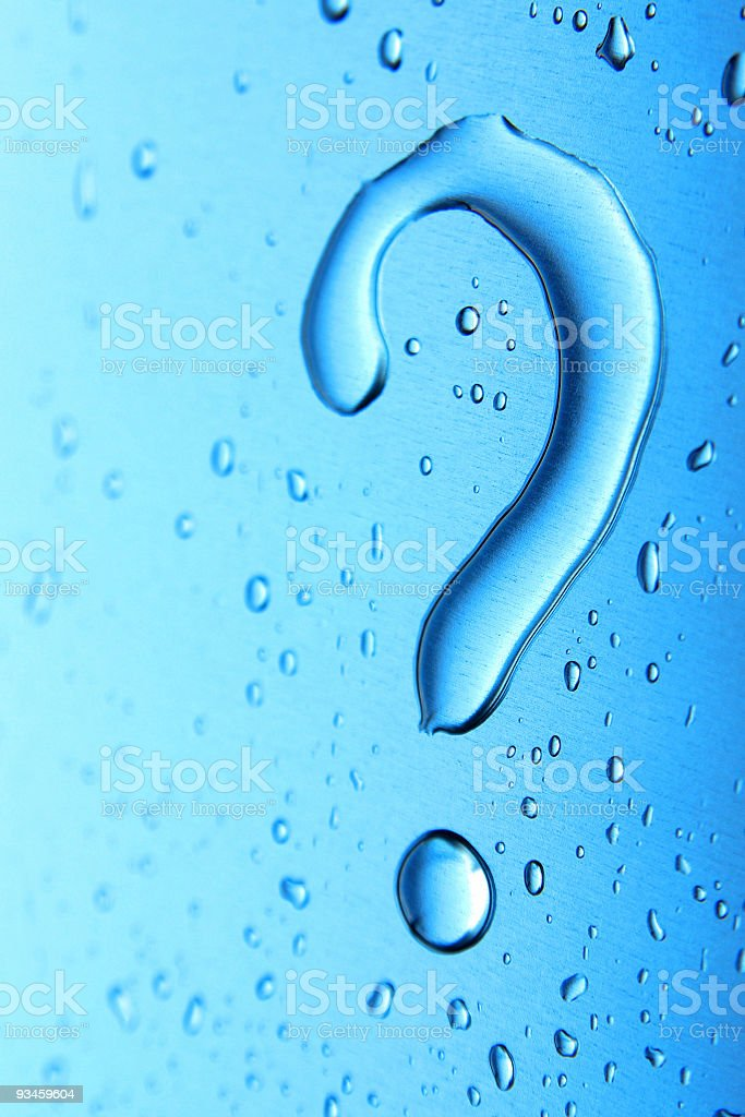 Water droplets on blue background in question mark shape royalty-free stock photo