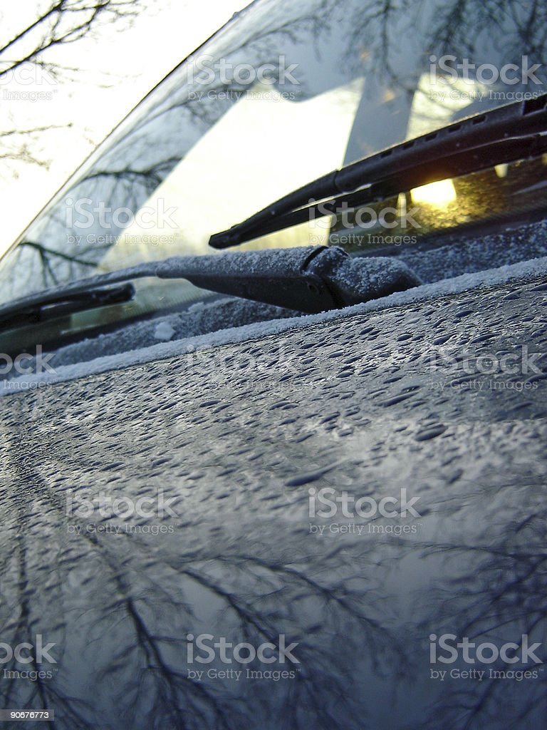 Water Droplets on Car Body in Winter royalty-free stock photo