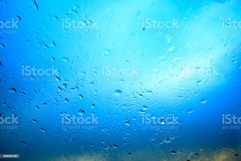 Water droplets on the glass stock photo