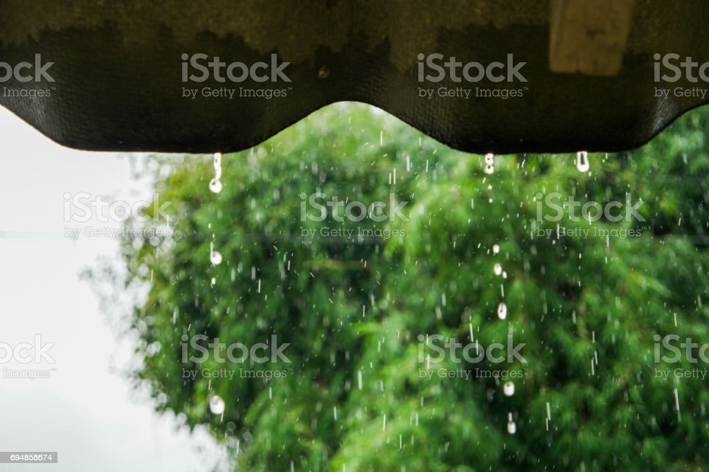 Water droplets on the roof. stock photo