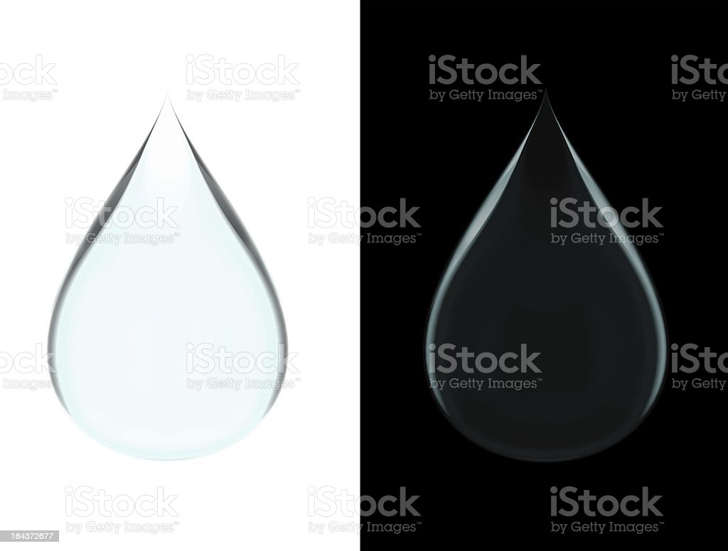 Water Droplets on White and Black stock photo
