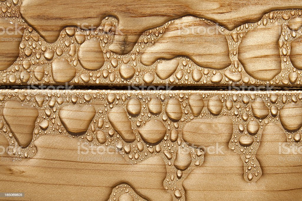 Water droplets on wood royalty-free stock photo