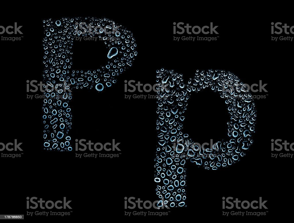 Water drops alphabet letter p, isolated black royalty-free stock photo