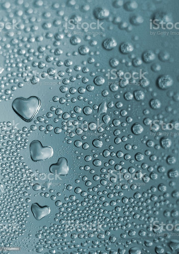 water drops and hearts stock photo