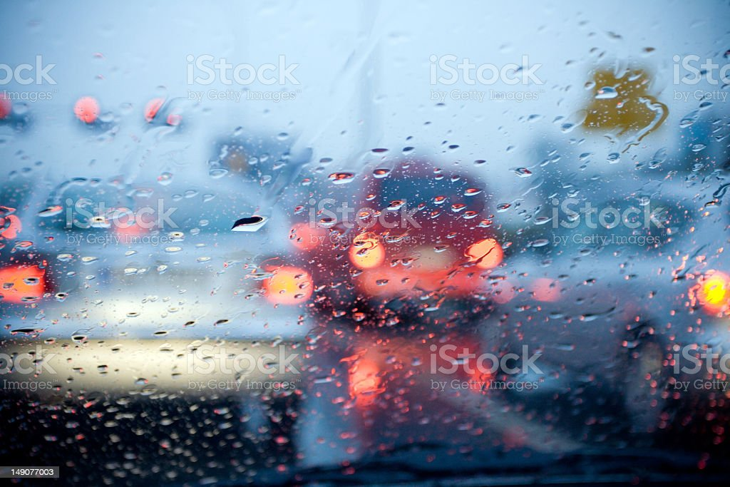 Water drops from the rain in traffic stock photo