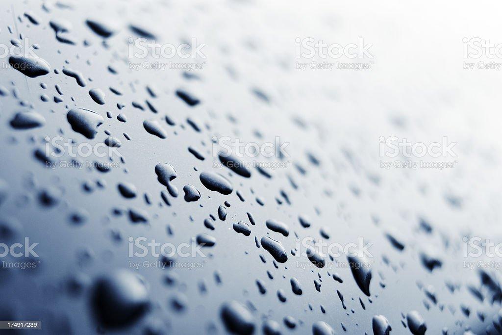 Water drops metallic surface royalty-free stock photo