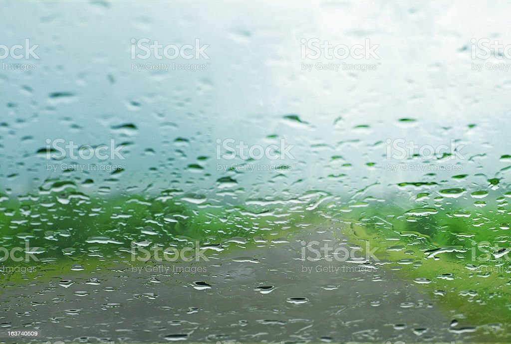 Water drops on a car window royalty-free stock photo