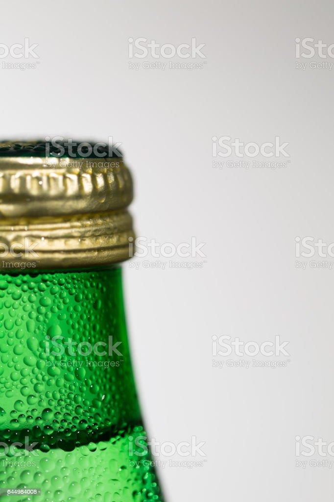 Water drops on beer bottle stock photo