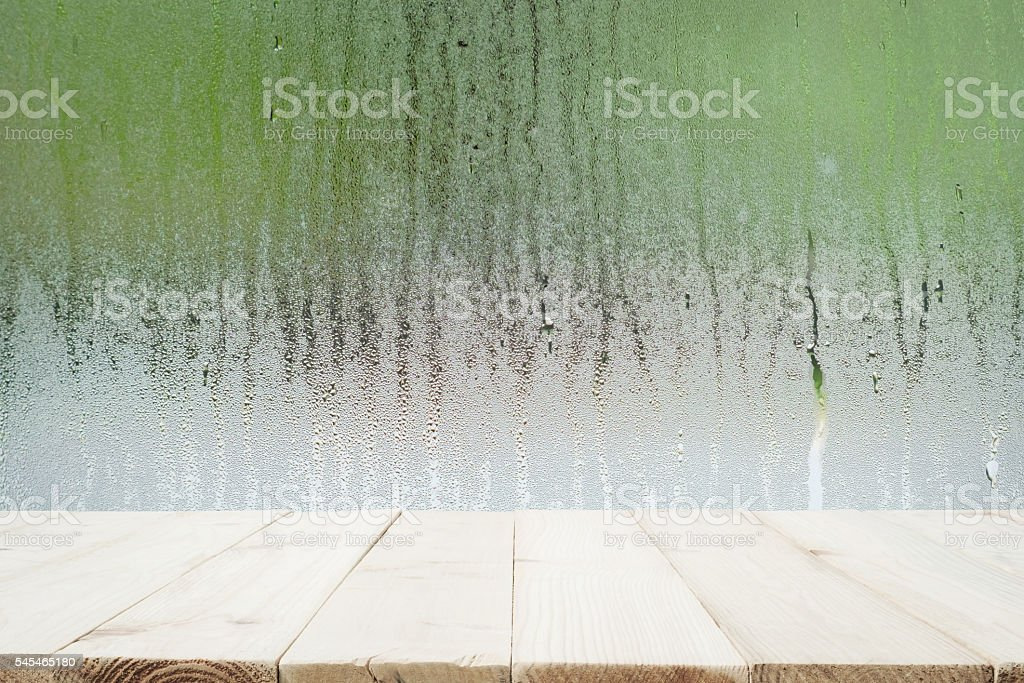 Water drops on glass after raining. soft focus. stock photo