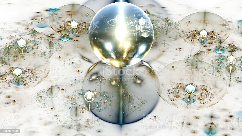 Water drops on mirror surface. Crystal ball. stock photo