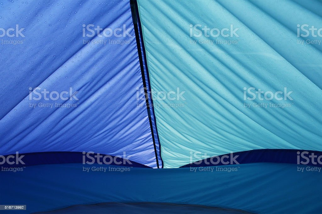 Water drops on tent stock photo