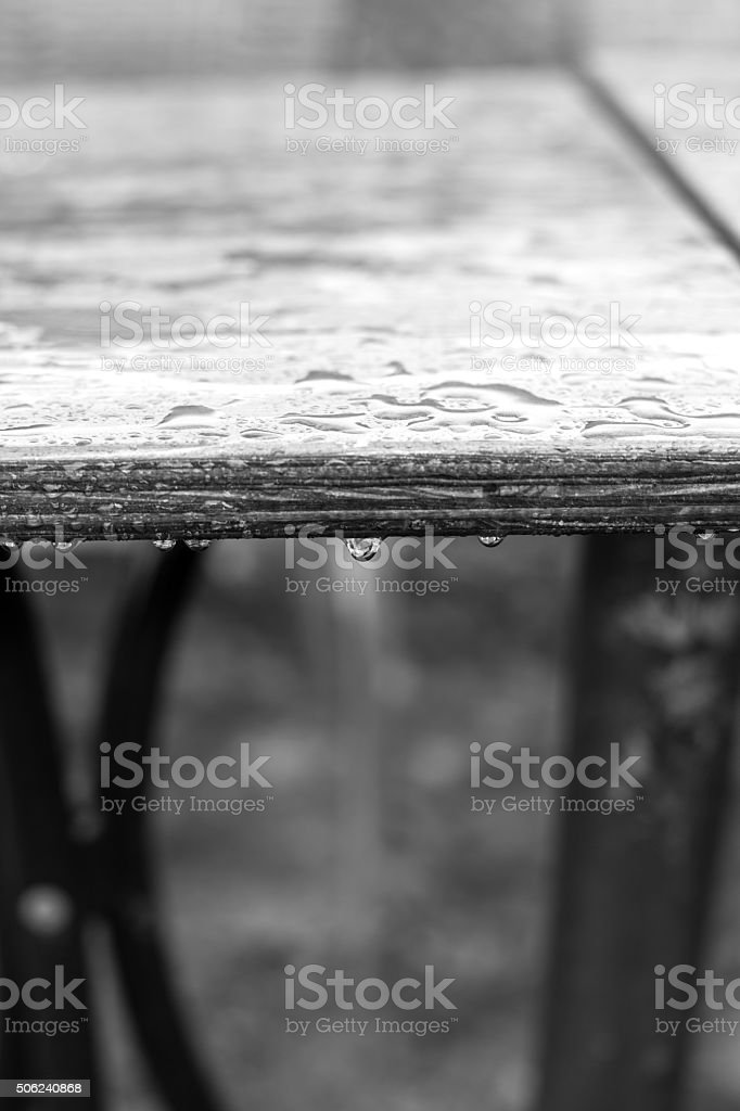 Water drops on the table. stock photo