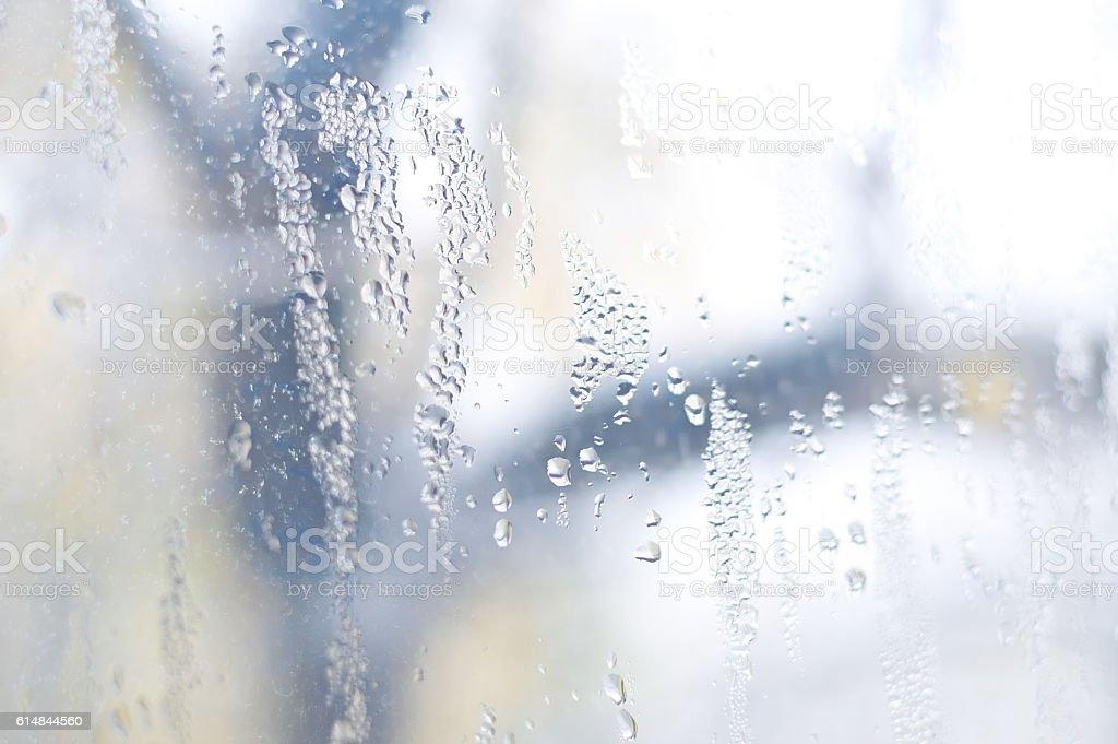 Water drops on window, autumn season stock photo