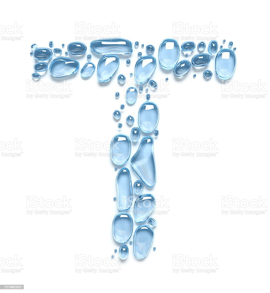 Water drops. The letter T stock photo