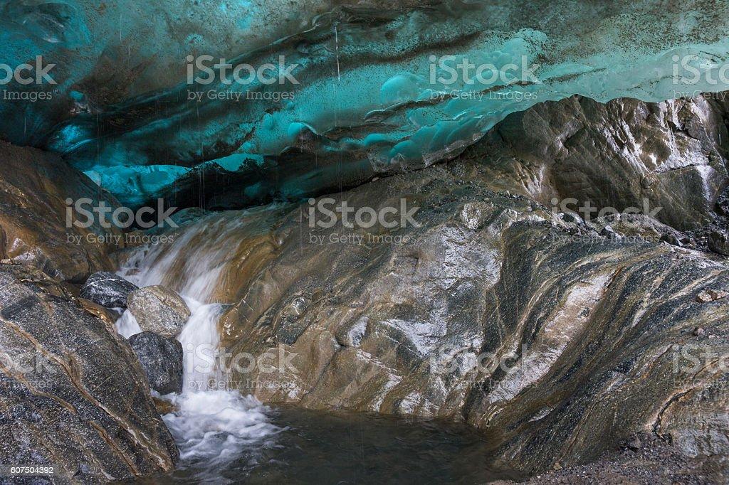 Water exiting glacier terminus stock photo