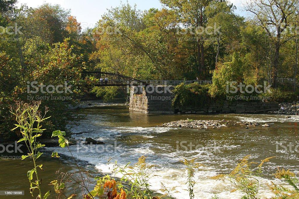 Water Fall and Bridge stock photo