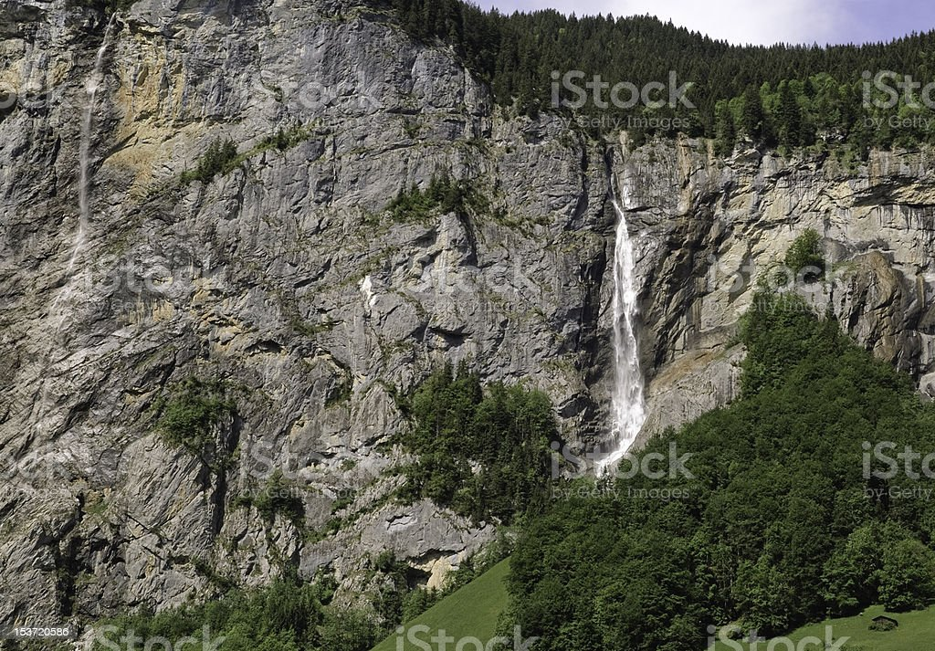 Water fall in the Bernese Oberland Valley stock photo