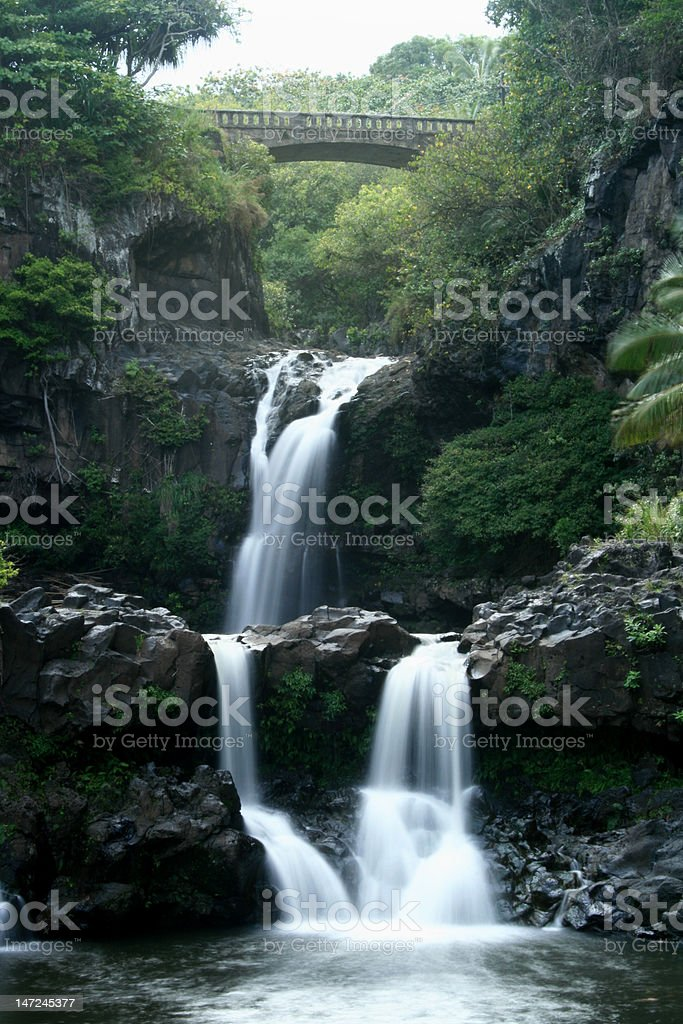 Water Falls at Seven Sacred Pools, Hana stock photo