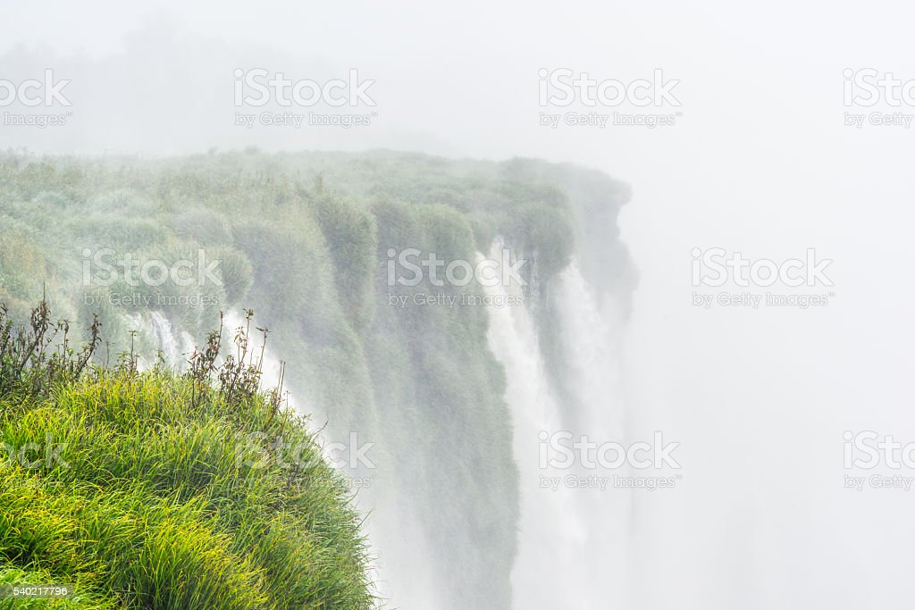 Water Falls in the mist stock photo