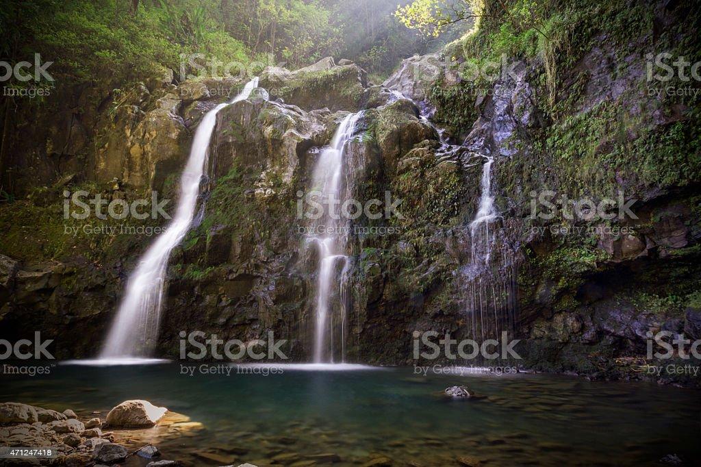Water Falls on Maui island Hawaii stock photo