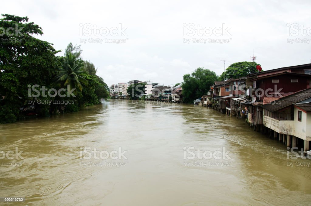Water fast and severe in chanthaburi river because flash flood stock photo