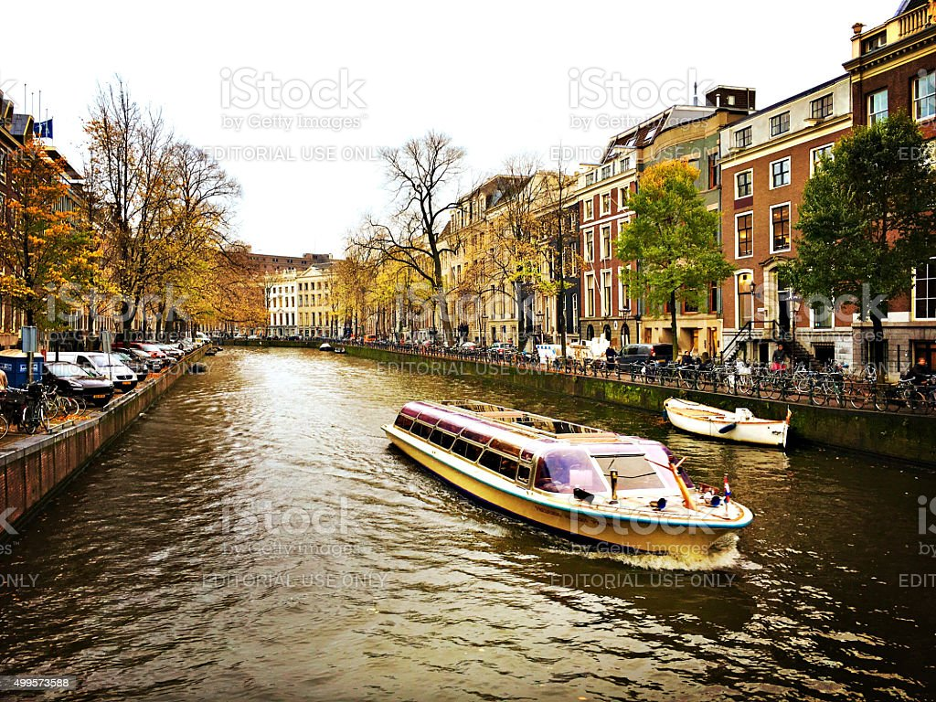 Water ferry on the Canals of Amsterdam, The Netherlands stock photo
