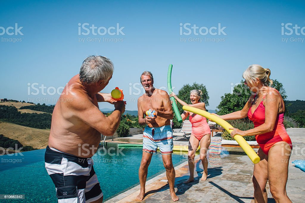 Water Fight! stock photo