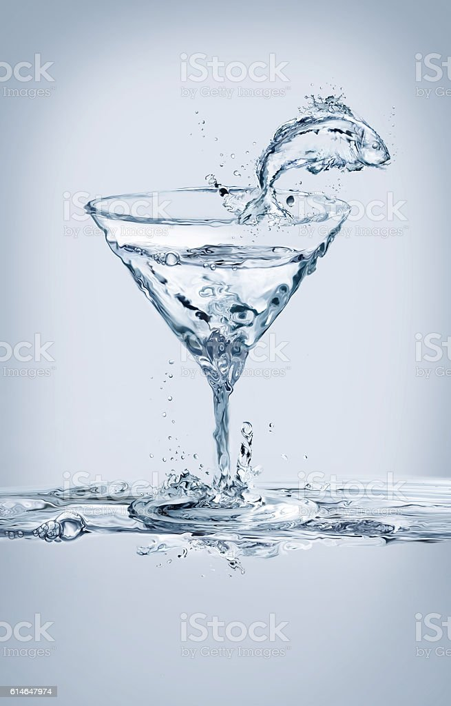 Water Fish and Martini Glass royalty-free stock photo