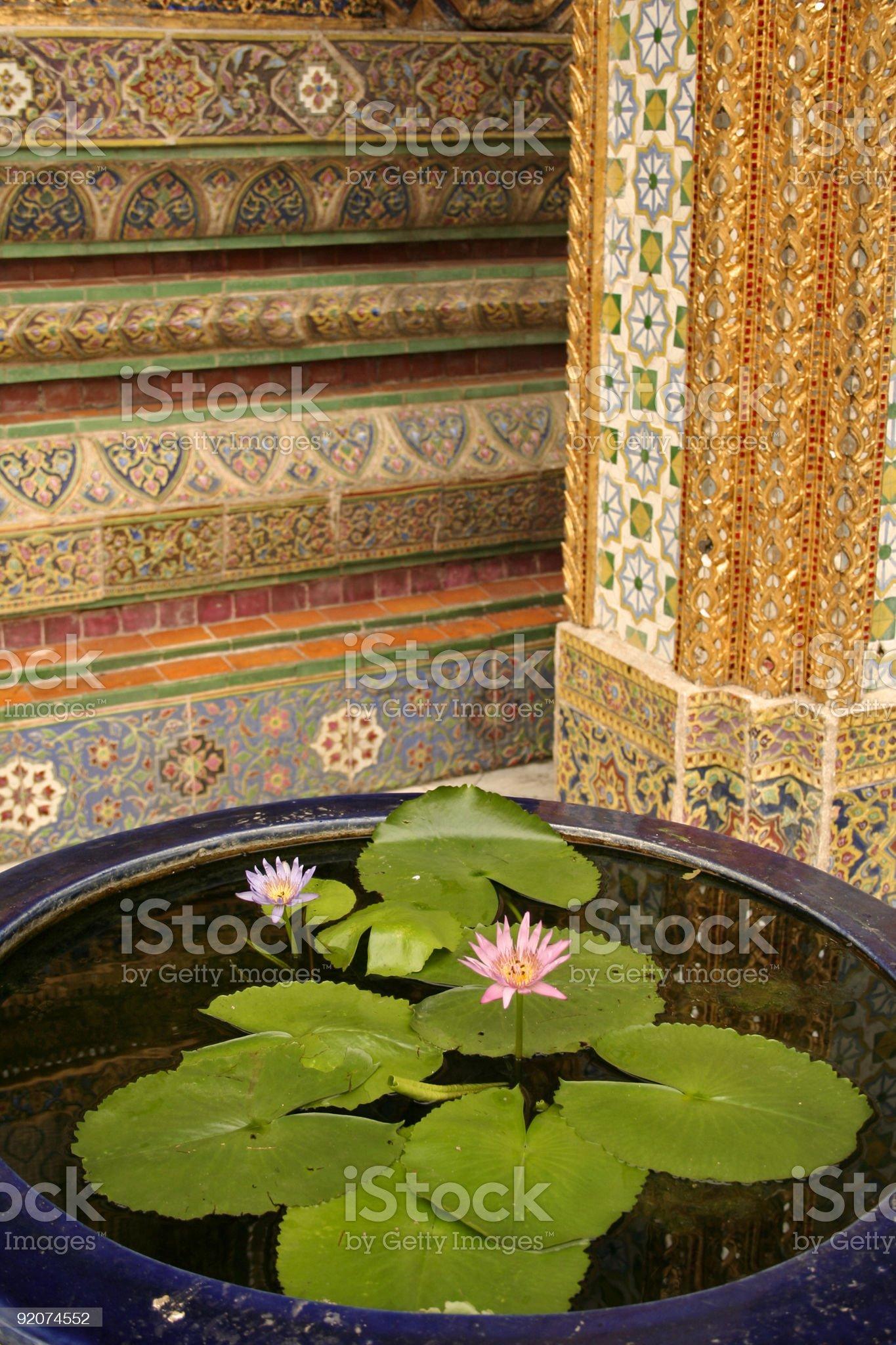Water flowers grand palace bangkok royalty-free stock photo