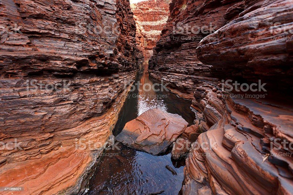 Water flowing deep below in gorge royalty-free stock photo