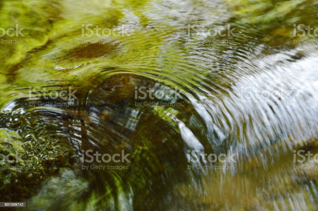 water flowing hit the rock and rippled stock photo